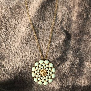 PILGRIM mint green 14k gold-plated flower necklace